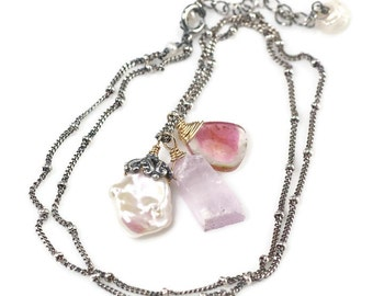 Watermelon Tourmaline necklace, Kunzite Crystal, cornflake Keshi Pearl charm necklace, Oxidised 925 Silver chain, Mix metal Jewellery, Boho