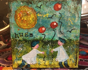 HUGS Two Little boys and balloons original mixed media painting 4x4