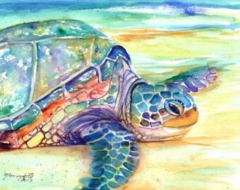 turtle original watercolor, sea turtle paintings, rainbow turtles, kauai fine art, original watercolors,  hawaiian honu,  hawaii kauai