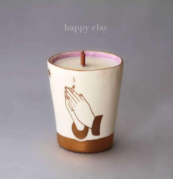 Handmade handpoured hand glazed scented candle