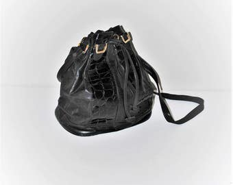 80s black leather bucket bag minimalist black leather + faux patent reptile skin bag large