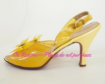 RESERVED 50s Clear Yellow Sling Back High Heel Shoes with Bows by Dominic Romano 10 S