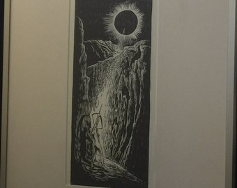 FRAMED Woodblock Print Wall art original print Light Hunter Surreal Woodcut