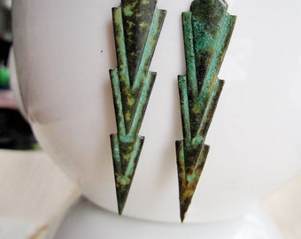 Patina Chevron, Art Deco Earrings, Green Boho Earrings, Long Boho, Tribal Earrings, Gardendiva