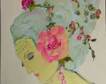 Lady painting, headdress, floral crown, roses, pink, purple, aqua, bohemian