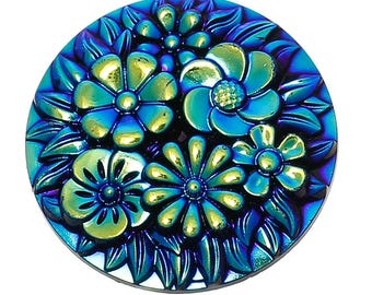 Resin Dome Cabochon with Flower Embellishment Round Blue AB Color 20mm 2 pcs