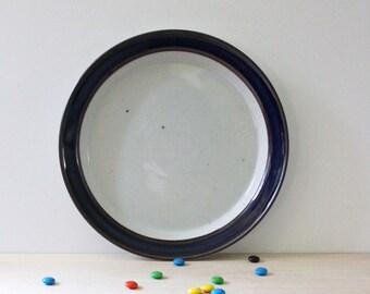 Dansk Blue Umber stoneware dinner plate, 1980s Danish modern design.