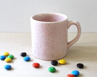 Mid century modern 1950s speckled pink stoneware mug.