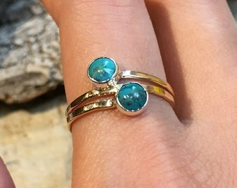 Turquoises ring, December birthstone ring, mothers ring, stacking ring, Gold ring,  personalised ring, family stones ring - You And Me R2468