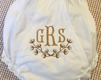 Embroidered Cotton Boll Monogrammed  Bloomers Diaper Cover