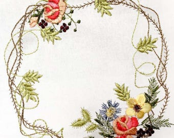 "WATERCOLOUR WREATHS 6"" Machine embroidery Designs"