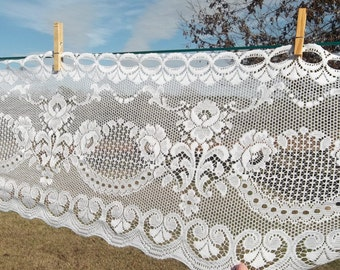 """Vintage White Lace Fabric Lace Curtain Lace Valance Window Treatment French Country Farmhouse Cottage Chic Sewing Supplies 12"""" x 5 Yards"""