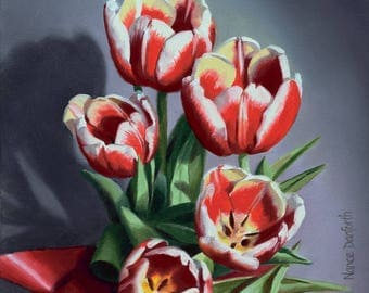 Five Tulips 6x6 original oil painting realistic floral flowers by Nance Danforth