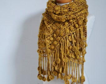 Crochet shawl, mustard, golden yellow, P512
