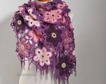 Crochet shawl, shades of pink and purple,  beaded,  Q528