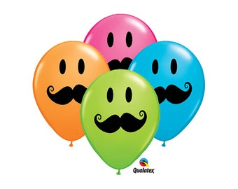 Qualatex 11 inch Smile Mustache Balloons - 10 pack - Movember 110044 fnt