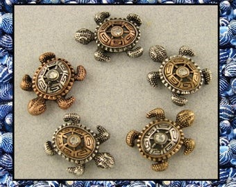 Sea Turtle Beads 3T Metal Silver Copper Gold ~ OCEAN Sand BEACH 2 Hole Metal Sliders QTY 5     (Sku 516226082)