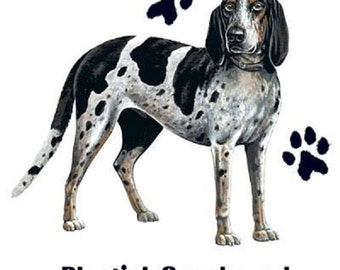 """COONHOUND, BLUE TICK Dog Fabric with Paws on One Large 18 x 22 inches Panel. Actual Picture is 11"""" x 11"""" on white background."""