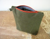 Salvaged Army Canvas Zip Pouch, Makeup Bag, Man Bag, Pencil Case, fully lined, handmade in Maine, USA