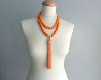 Orange tassel Statement necklace longer style, multi strand necklace