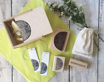 NEW Pigeon Package >> MARKET << 3 stamps + 1 ink >> a custom hand-carved rubber stamp set for your business