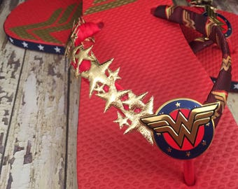 SKDesigns Wonder Woman Flip Flops, Wonder Woman Shoes, Superhero Shoes, Halloween Flip Flops, Wonder Woman Costume Sandals DC Comics Shoes