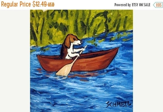 30% off Beagle Riding a Canoe Dog Art Tile Coaster gift