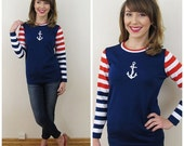 20% Off Sale 70s Booth Bay Navy Red White Striped Nautical Sailor Top, Size Medium