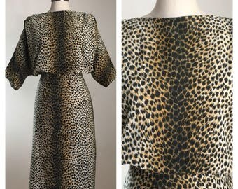 80s does 50s Leopard Corduroy Batwing Wiggle Dress, Size Large