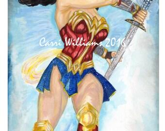 Wonder Woman Gal Gadot Amazon Princess original painting acrylic on watercolor paper unframed