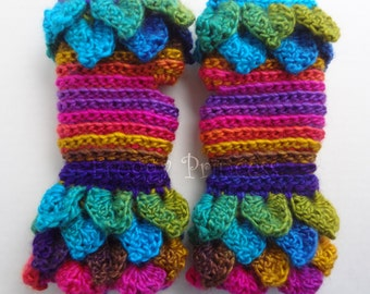Dragon Scale Gloves Fingerless Gloves Rainbow Gloves Ready to Ship Crocodile Wrist Warmers Gifts for Her Ladies Accessories