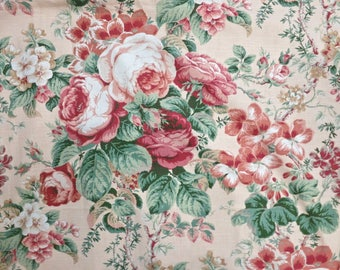 Vintage Cabbage Roses in Red and Peach Cotton Decorator Fabric by Jay Yang