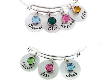 Mother's Birthstone and Name Charm Bracelet - Adjustable Bangle Bracelet - One Two Three Four or Five Name Charms (BN030). Starts at
