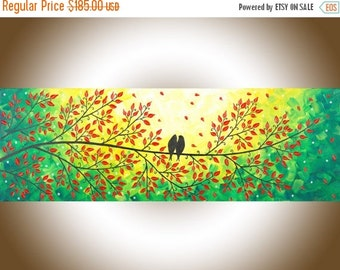"Contemporary wall art love birds art Colorful red yellow green Palette Knife narrow Wall Art wall decor ""Love Is in the Air"" by QIQIGALLERY"