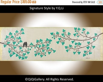 """Modern Abstrect art abstract painting green flowers tree love birds original artwork wall art canvas art """"Beauty of Spring"""" by QIQIGALLERY"""