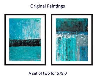 Turquoise blue black Set of two original art abstract landscape painting painting on paper wall art wall decor home decor by qiqigallery