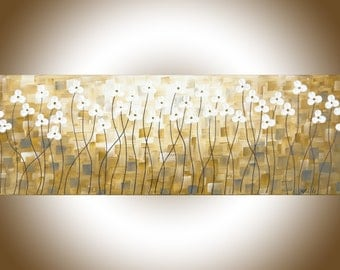 "Abstract yellow painting home decor wall art narrow art grey flowers palette knife Canvas wall hangings ""Early Spring"" by QIQIGallery"