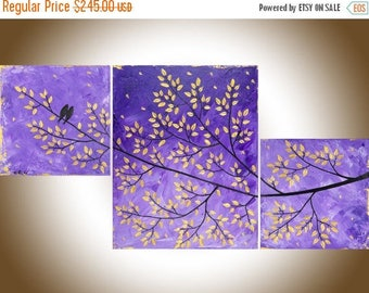 """Purple art set of 3 paintings birds on tree branch gold leaves tree wall decor home decor """"Purple Dream"""" by QIQIGALLER"""