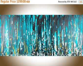 "Abstract painting Turquoise gold black white Original painting large wall art acrylic canvas art gift for men ""Meteor Shower"" by QiQiGallery"