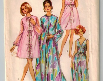 Vintage 70's Sewing Pattern Lingerie Nightgown Sexy Peignoir Size 18 Bust 40 Two Lengths Sleeveless Ribbon Tie Belt Bell Shaped Sleeves