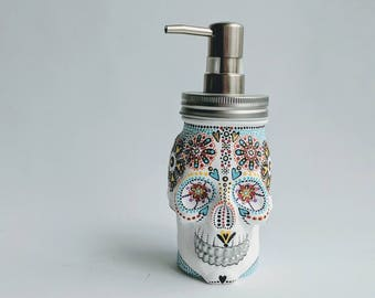 Painted Skull: Hand painted glass Skull shaped Soap Dispenser Sugar skull painted skull skull art