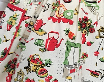 50's Kitchen Half Apron, Michael Miller's Fifty Kitchen Retro Apron, 50's Kitchen Retro Apron, Retro Housewife