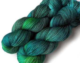 NEW Mulberry Silk and Merino Lace Yarn, 866 yards, Blue Eden