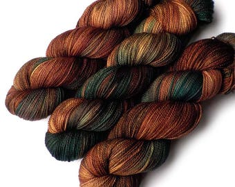 Hand Dyed Yarn Lace Merino, Cashmere and Nylon - Forest for the Trees, 560 yards