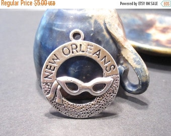 50% Off 9 New Orleans Mardi Gras Charms in Antique Silver 28x25mm with top loop C1001 A16