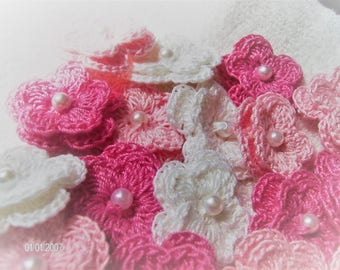 Crochet Flowers set of 25 double layered in a Baby Girl