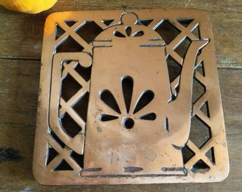Vintage 70s Copper/Iron Percolator/Coffee Pot Trivet