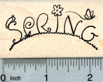 Spring Rubber Stamp, Text with Caterpillar and Butterfly H32117 Wood Mounted