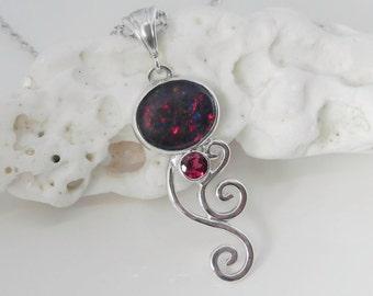 Black Opal Pendant - Genuine Opal Pendant with Rhodolite Garnet - Australian Opal Sterling Silver Wave - Opal and Pink Garnet