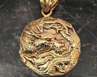 14K yellow gold DRAGON Pendant w/ Ruby eyes or with Diamond, Emerald, Sapphire, Garnet, Citrine, or Zircon eyes 11.5 grams